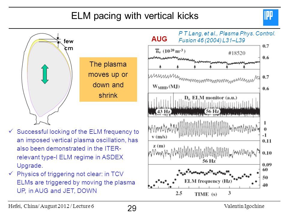 Hefei, China/ August 2012 / Lecture 6Valentin Igochine 29 ELM pacing with vertical kicks Successful locking of the ELM frequency to an imposed vertica