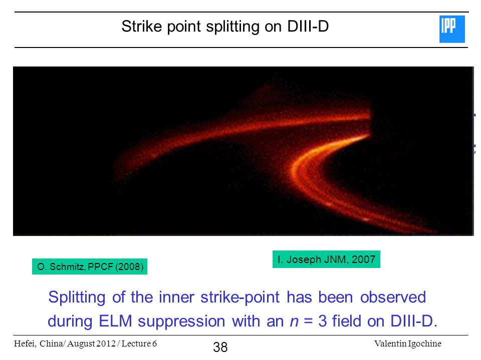Hefei, China/ August 2012 / Lecture 6Valentin Igochine 38 Strike point splitting on DIII-D Splitting of the inner strike-point has been observed during ELM suppression with an n = 3 field on DIII-D.