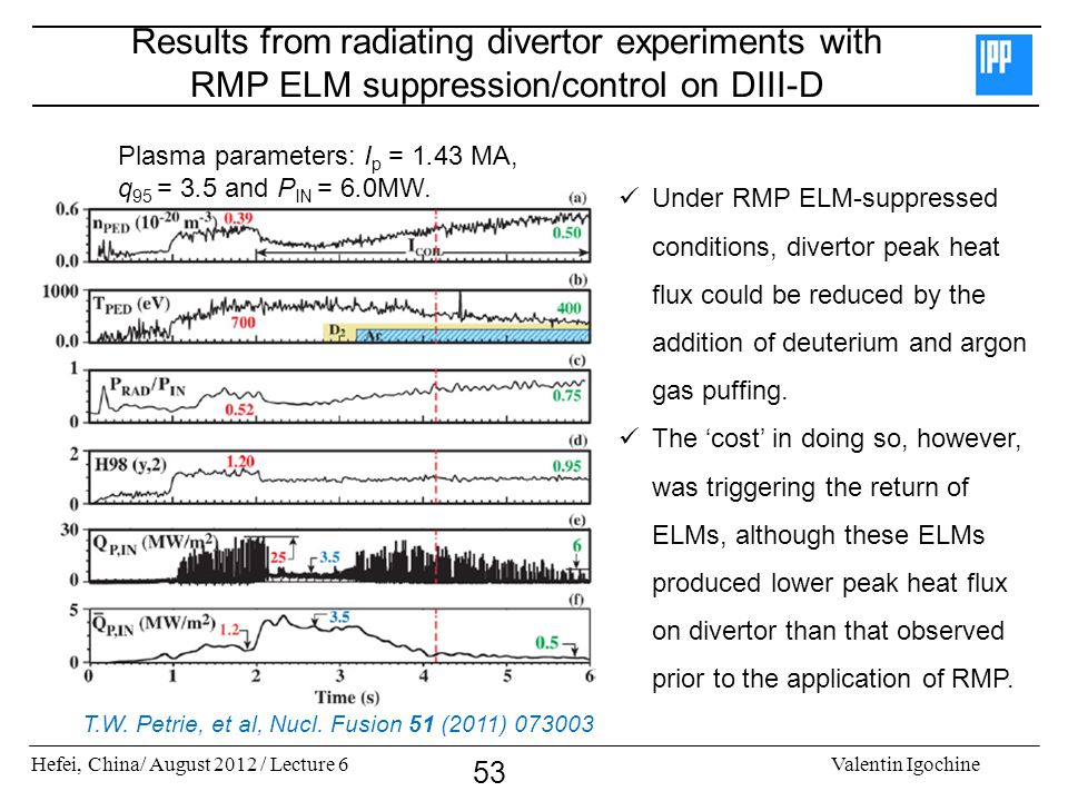 Hefei, China/ August 2012 / Lecture 6Valentin Igochine 53 Results from radiating divertor experiments with RMP ELM suppression/control on DIII-D Plasma parameters: I p = 1.43 MA, q 95 = 3.5 and P IN = 6.0MW.