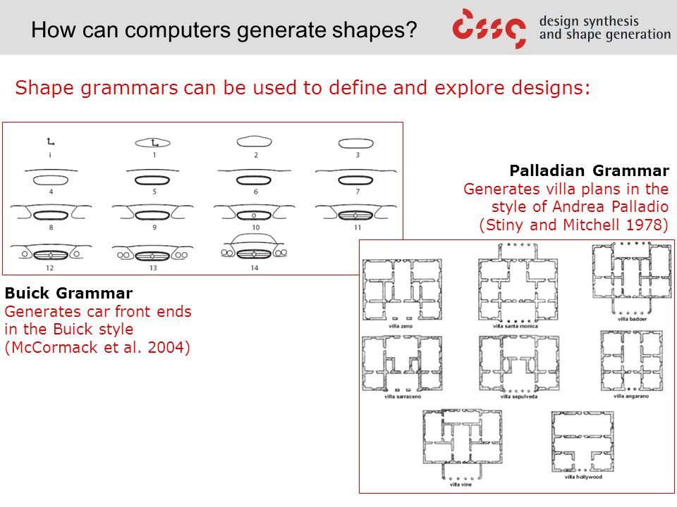 Shape grammars can be used to define and explore designs: Palladian Grammar Generates villa plans in the style of Andrea Palladio (Stiny and Mitchell 1978) Buick Grammar Generates car front ends in the Buick style (McCormack et al.