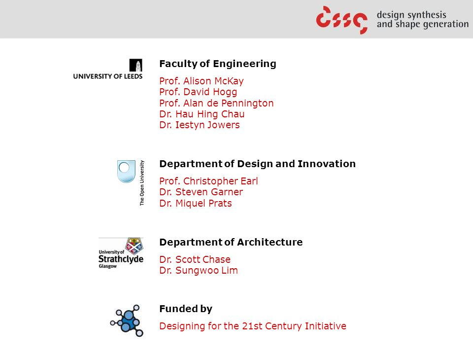 Faculty of Engineering Prof. Alison McKay Prof. David Hogg Prof.