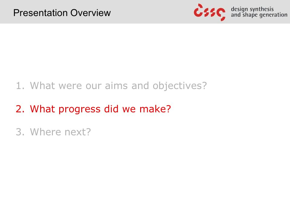 1. What were our aims and objectives. 2. What progress did we make.