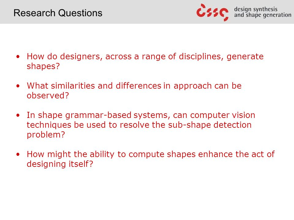 How do designers, across a range of disciplines, generate shapes.