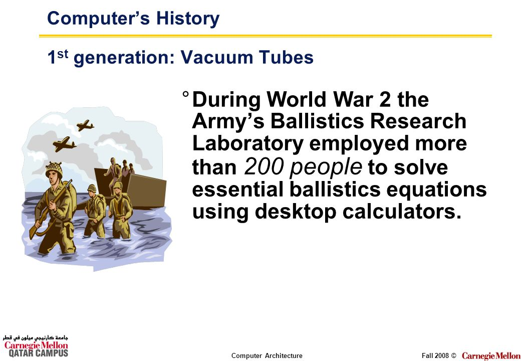 Computer ArchitectureFall 2008 © Computers History 1 st generation: Vacuum Tubes °During World War 2 the Armys Ballistics Research Laboratory employed