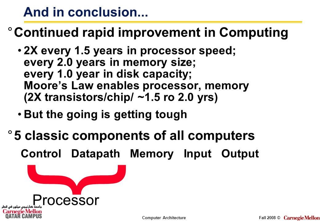 Computer ArchitectureFall 2008 © And in conclusion...