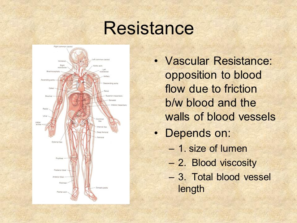 Resistance Vascular Resistance: opposition to blood flow due to friction b/w blood and the walls of blood vessels Depends on: –1.