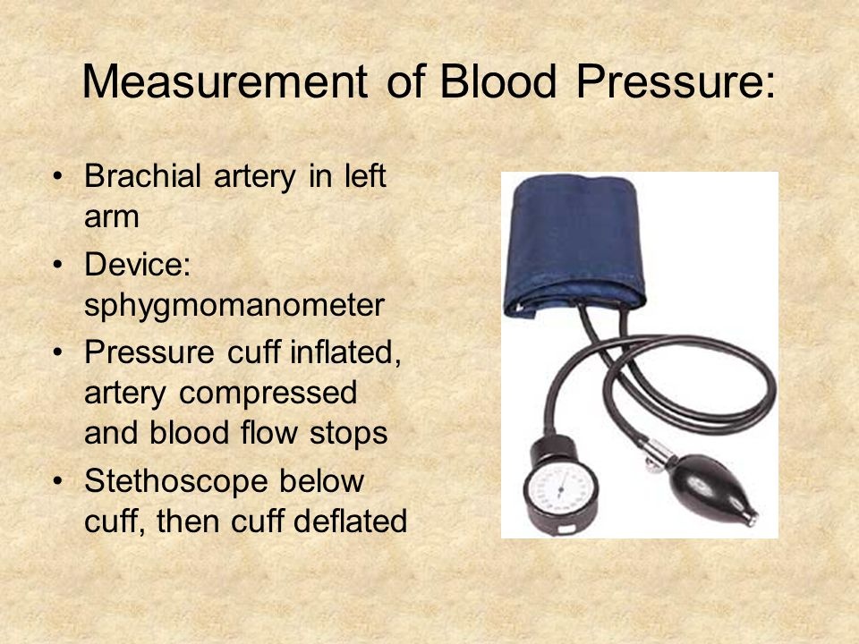 Measurement of Blood Pressure: Brachial artery in left arm Device: sphygmomanometer Pressure cuff inflated, artery compressed and blood flow stops Stethoscope below cuff, then cuff deflated