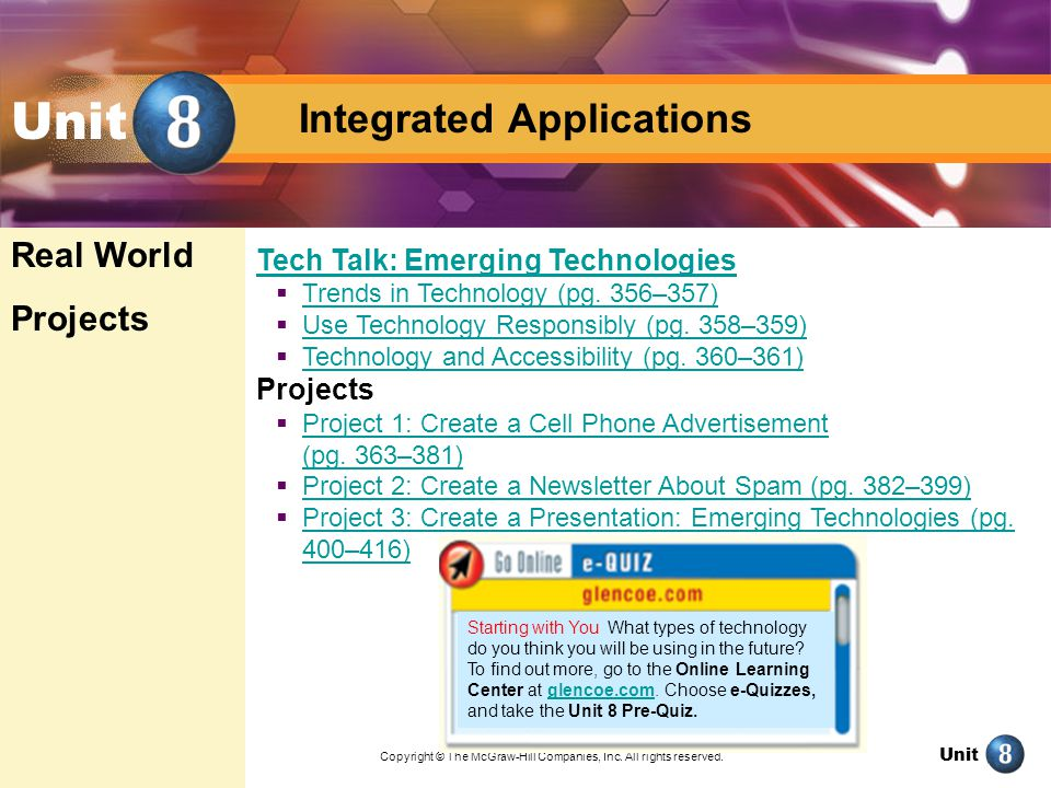 Unit Integrated Applications Create a Newsletter About Spam Exercise 2-5 Link text boxes Insert an Excel chart Insert page numbers pg.