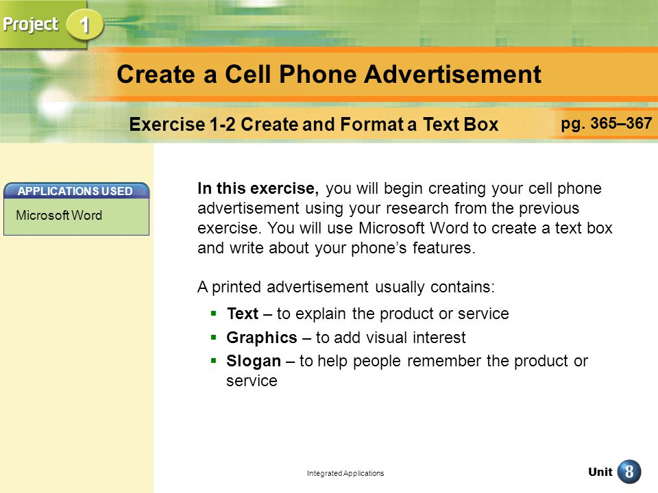 Unit Integrated Applications Create a Cell Phone Advertisement pg.