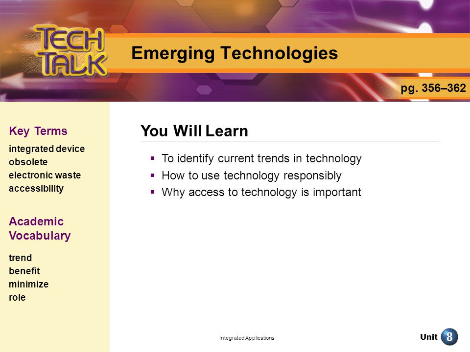 Unit Integrated Applications Emerging Technologies To identify current trends in technology How to use technology responsibly Why access to technology is important You Will Learn Key Terms integrated device obsolete electronic waste accessibility pg.