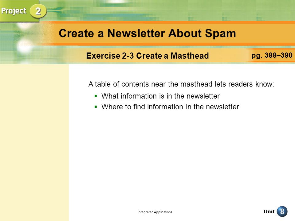 Unit Integrated Applications Create a Newsletter About Spam pg.