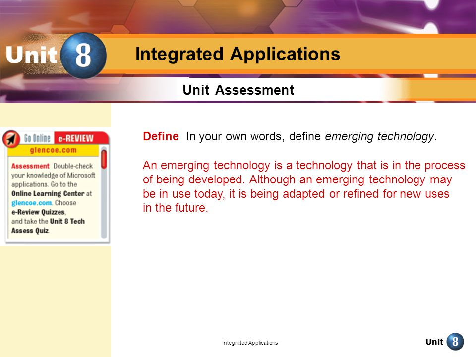 Unit Integrated Applications Unit Unit Assessment Define In your own words, define emerging technology.
