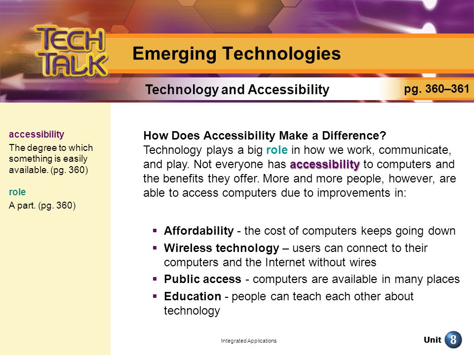 Unit Integrated Applications Create a Presentation: Emerging Technologies pg.