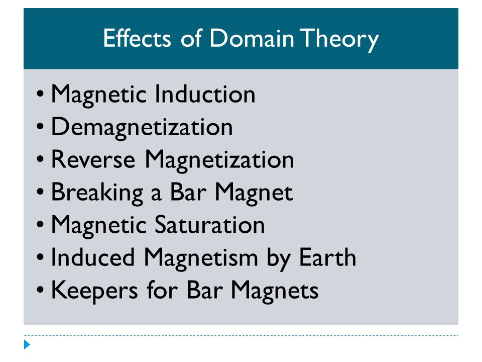 Effects of Domain Theory Magnetic Induction Demagnetization Reverse Magnetization Breaking a Bar Magnet Magnetic Saturation Induced Magnetism by Earth