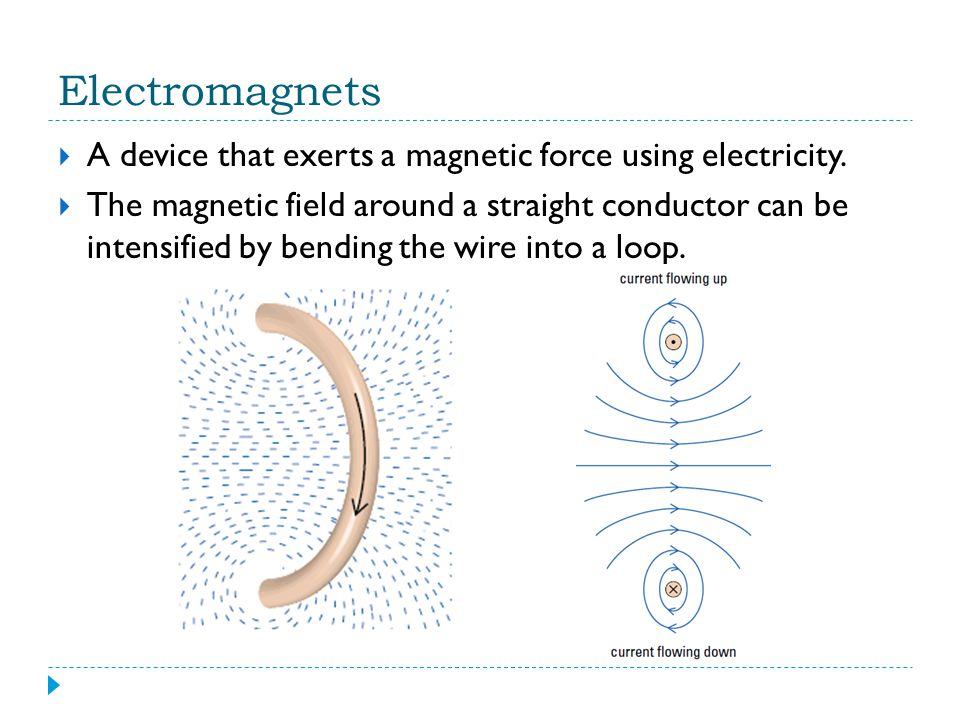 Electromagnets A device that exerts a magnetic force using electricity. The magnetic field around a straight conductor can be intensified by bending t