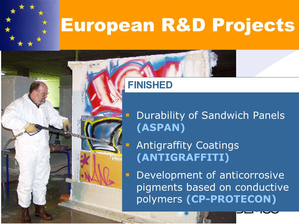 Durability of Sandwich Panels (ASPAN) Antigraffity Coatings (ANTIGRAFFITI) Development of anticorrosive pigments based on conductive polymers (CP-PROTECON) European R&D Projects FINISHED