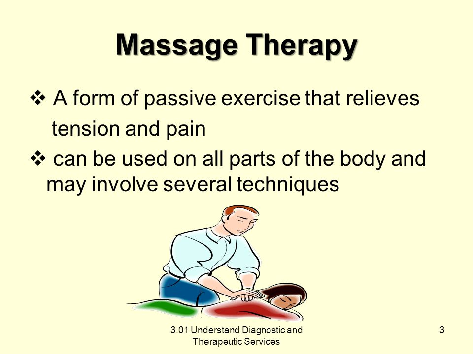 Effleurage involves gentle strokes that glide over the skin without attempting to move deeper structures often used during pregnancy and childbirth aids in relaxing abdominal muscles used more than any other technique 3.01 Understand Diagnostic and Therapeutic Services 4