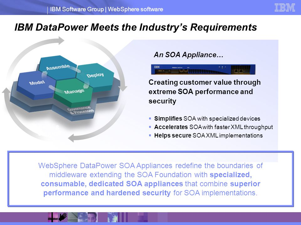 IBM Software Group | WebSphere software IBM DataPower Meets the Industrys Requirements Software Skills & Support An SOA Appliance… WebSphere DataPower SOA Appliances redefine the boundaries of middleware extending the SOA Foundation with specialized, consumable, dedicated SOA appliances that combine superior performance and hardened security for SOA implementations.