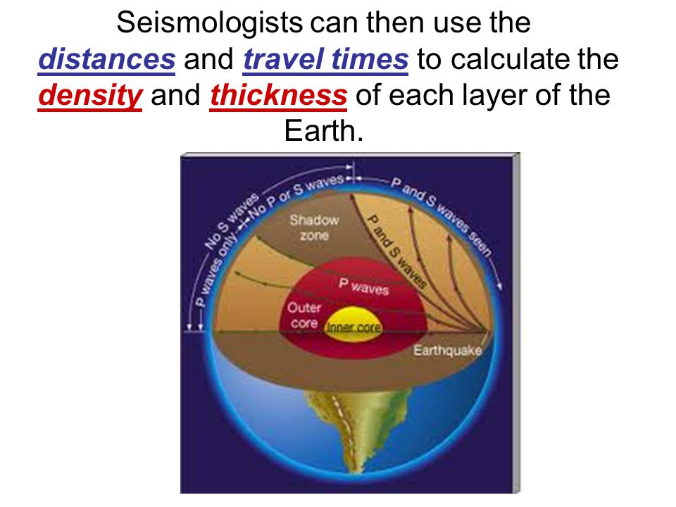 Seismologists can then use the distances and travel times to calculate the density and thickness of each layer of the Earth.