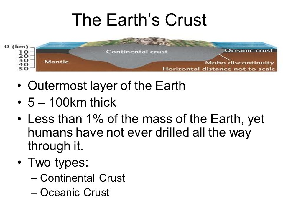 The Earths Crust Outermost layer of the Earth 5 – 100km thick Less than 1% of the mass of the Earth, yet humans have not ever drilled all the way thro