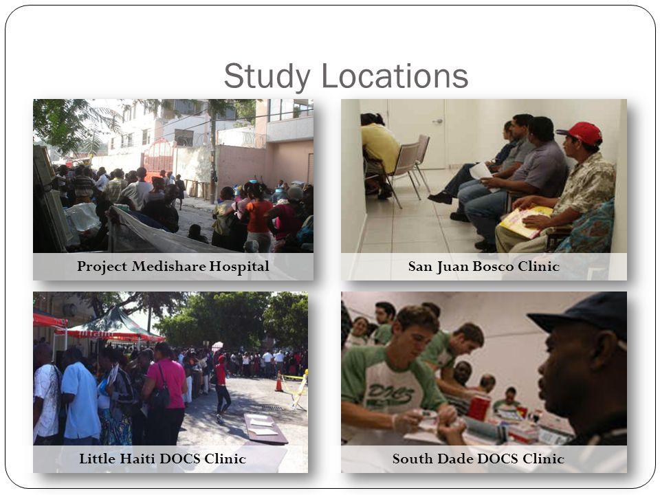 Study Locations Project Medishare Hospital Little Haiti DOCS Clinic San Juan Bosco Clinic South Dade DOCS Clinic