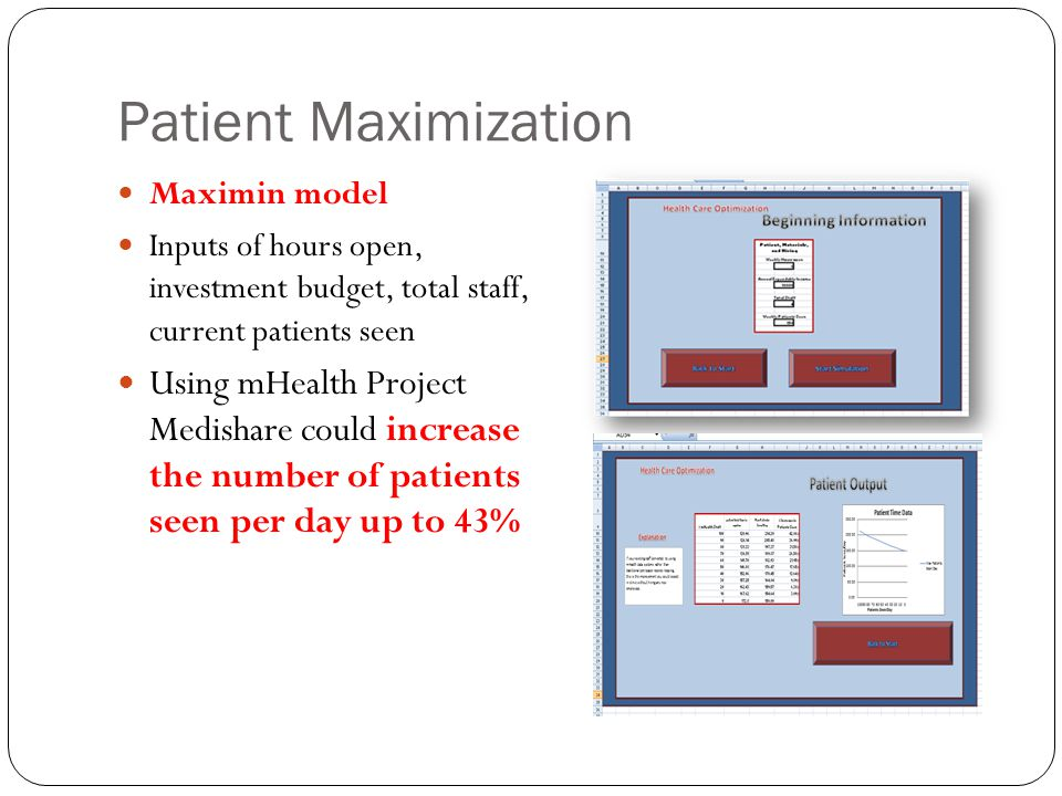 Patient Maximization Maximin model Inputs of hours open, investment budget, total staff, current patients seen Using mHealth Project Medishare could i