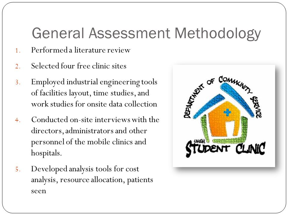 General Assessment Methodology 1. Performed a literature review 2. Selected four free clinic sites 3. Employed industrial engineering tools of facilit