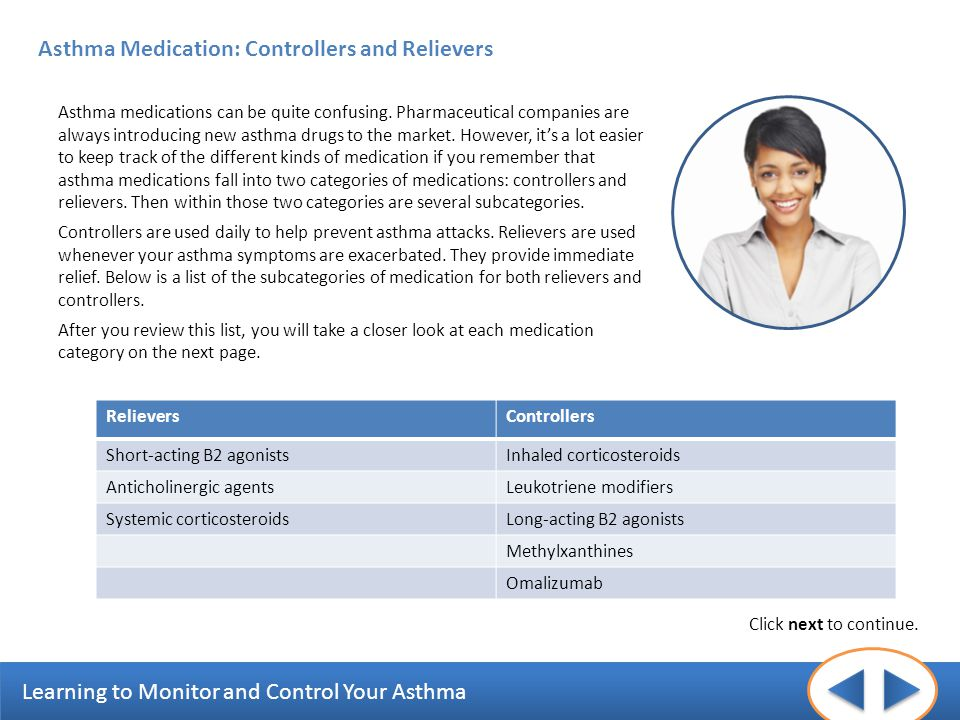 Learning to Monitor and Control Your Asthma Asthma Medication: Controllers and Relievers Asthma medications can be quite confusing. Pharmaceutical com