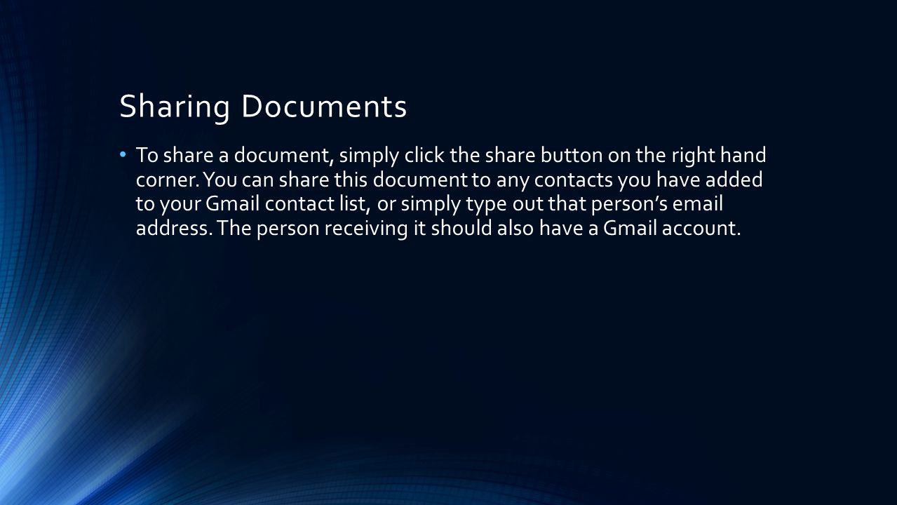 Sharing Documents To share a document, simply click the share button on the right hand corner.