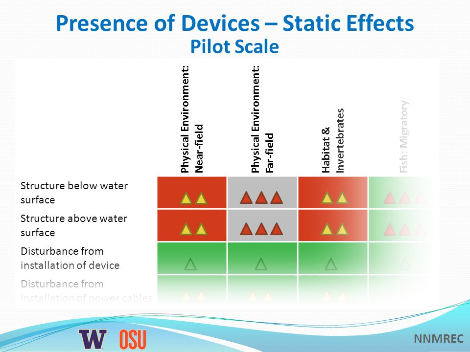 NNMREC Presence of Devices – Static Effects Physical Environment: Near-field Physical Environment: Far-field Habitat & Invertebrates Fish: Migratory Structure below water surface Structure above water surface Disturbance from installation of device Disturbance from installation of power cables Pilot Scale