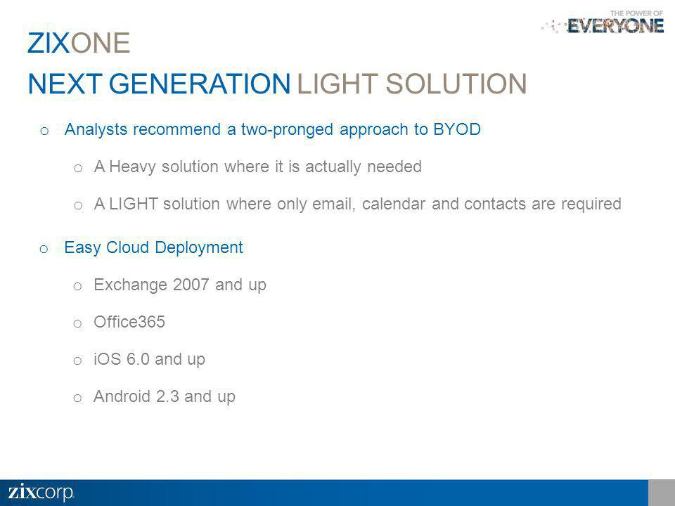 NEXT GENERATION LIGHT SOLUTION ZIXONE o Analysts recommend a two-pronged approach to BYOD o A Heavy solution where it is actually needed o A LIGHT solution where only email, calendar and contacts are required o Easy Cloud Deployment o Exchange 2007 and up o Office365 o iOS 6.0 and up o Android 2.3 and up
