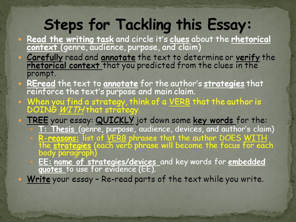 Read the writing task and circle its clues about the rhetorical context (genre, audience, purpose, and claim) Carefully read and annotate the text to