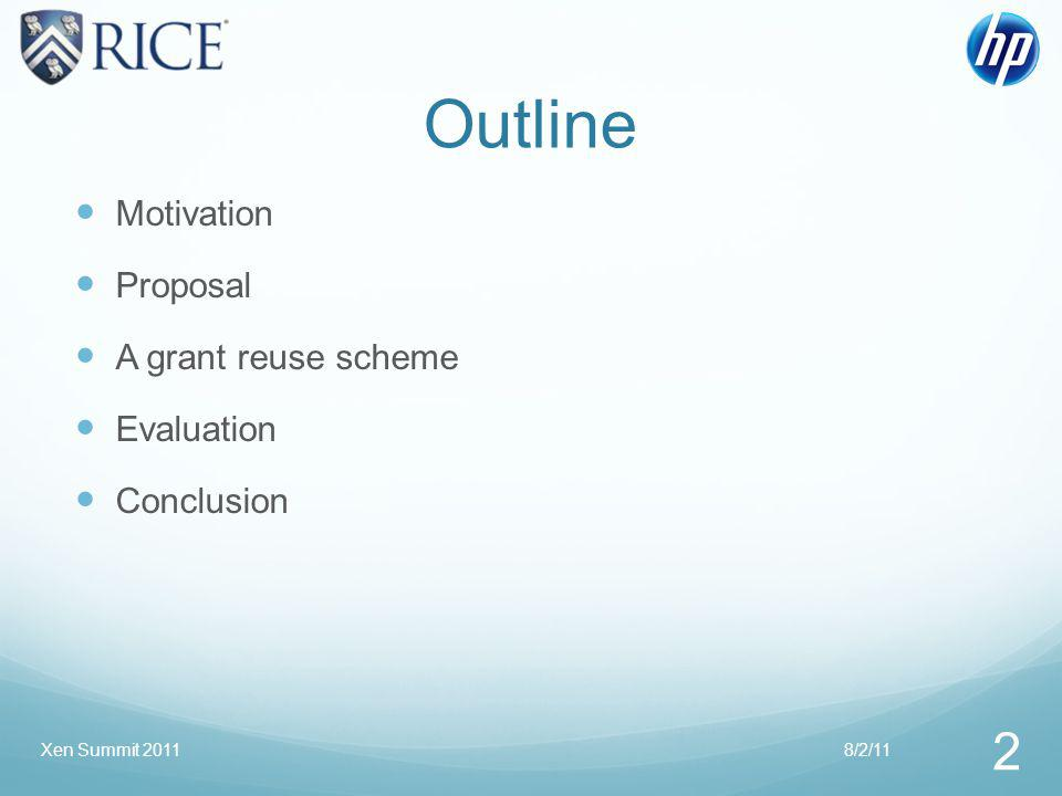 Outline Motivation Proposal A grant reuse scheme Evaluation Conclusion 8/2/11 2 Xen Summit 2011