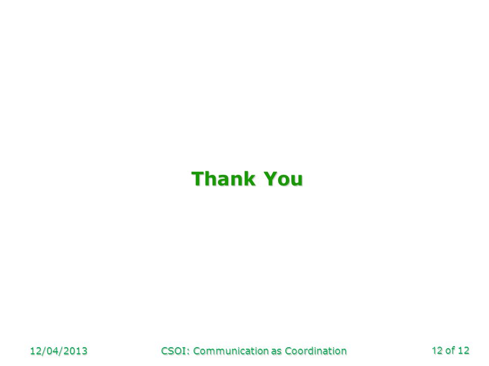 of 12 Thank You 12/04/2013CSOI: Communication as Coordination12