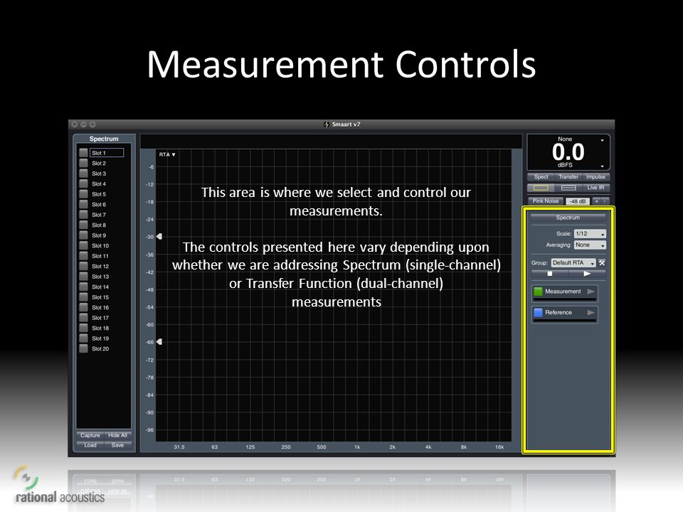 Measurement Controls This area is where we select and control our measurements. The controls presented here vary depending upon whether we are address
