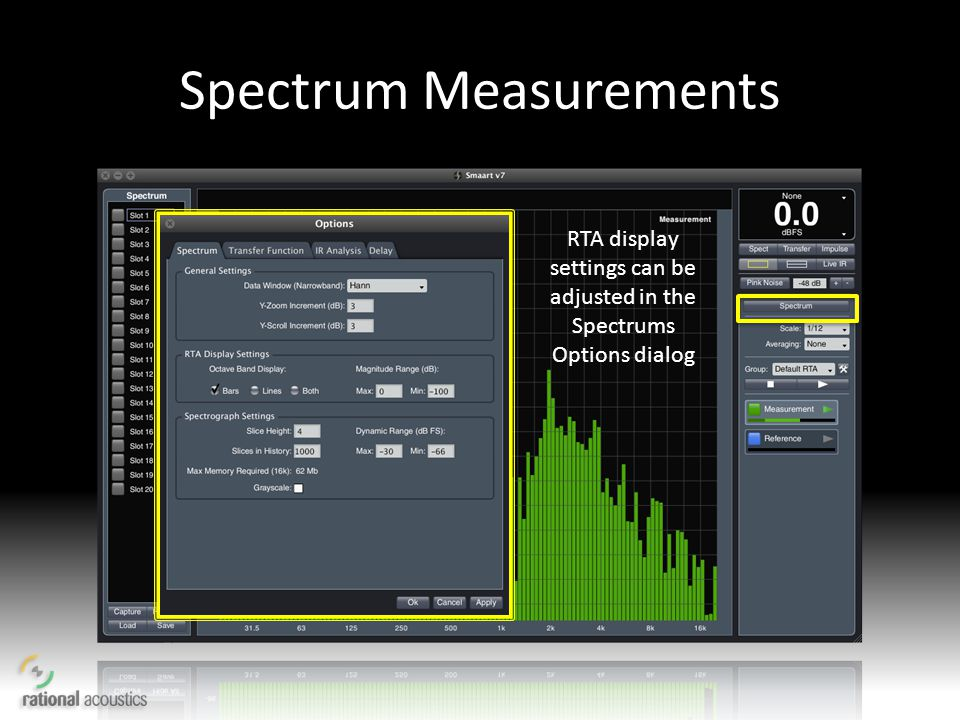 Spectrum Measurements RTA display settings can be adjusted in the Spectrums Options dialog