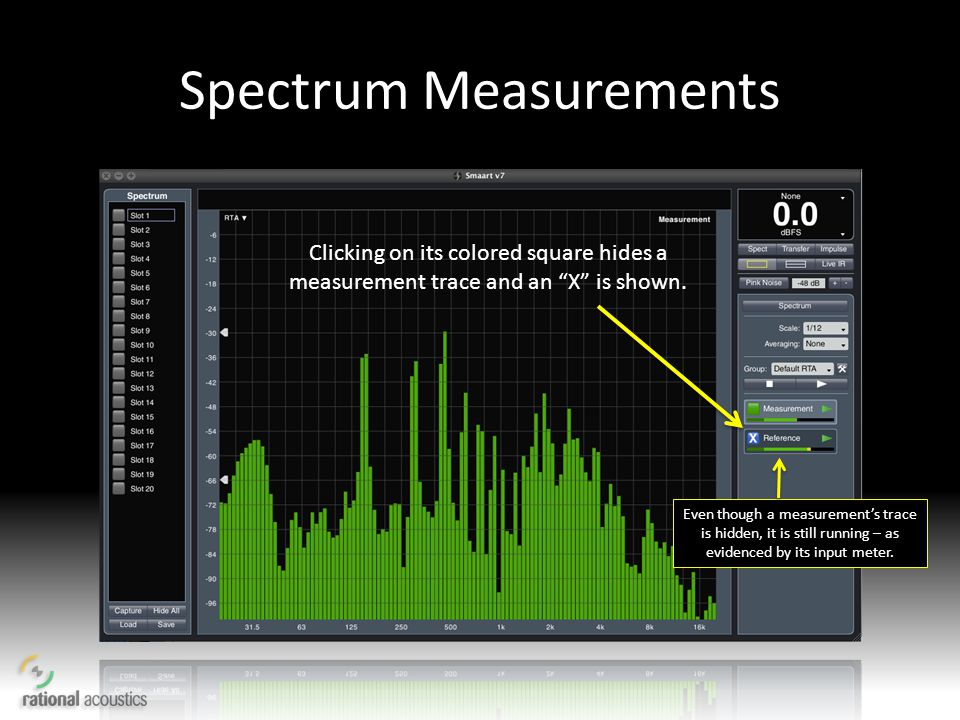 Spectrum Measurements Clicking on its colored square hides a measurement trace and an X is shown. Even though a measurements trace is hidden, it is st