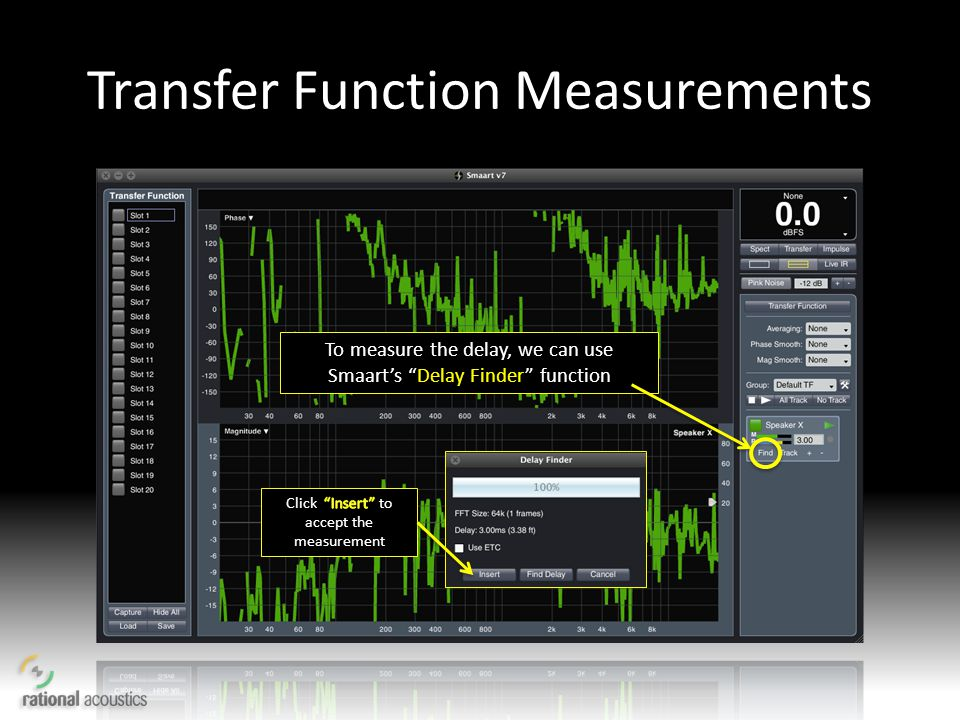 Transfer Function Measurements To measure the delay, we can use Smaarts Delay Finder function