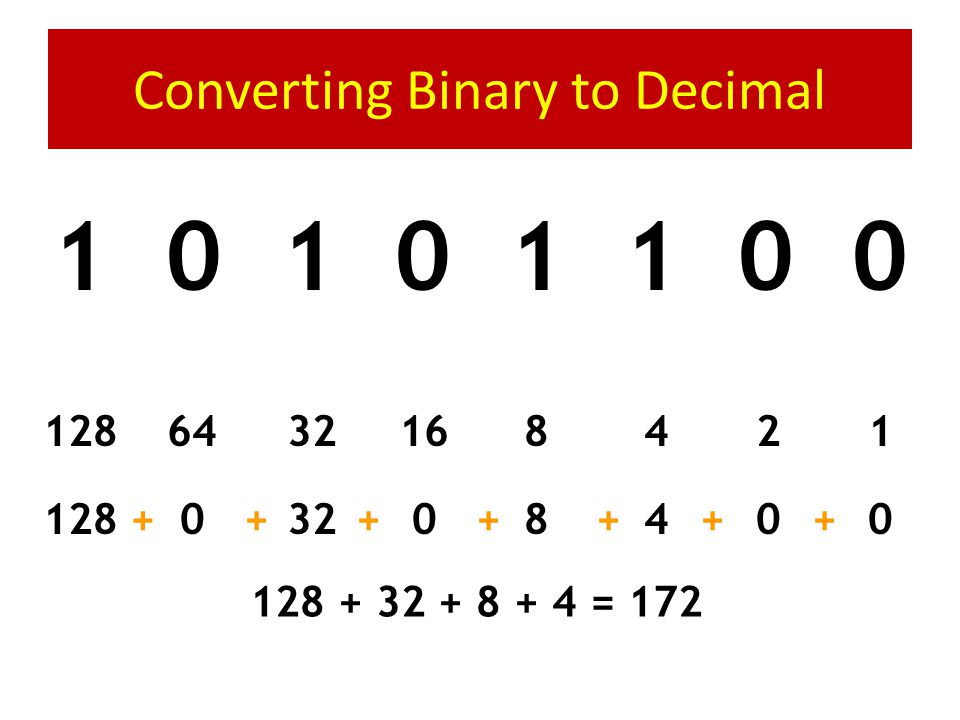 Computers count in Base 2 (Binary) Counting in Binary is the same, but with only two symbols – On (1) – Off (0) 0110111001011111000100110101011110011011110111110000110