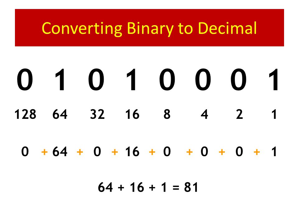 Converting Binary to Decimal 1 0 1 0 1 1 0 0 1248163264128 00480320128+++++++ 128 + 32 + 8 + 4 = 172