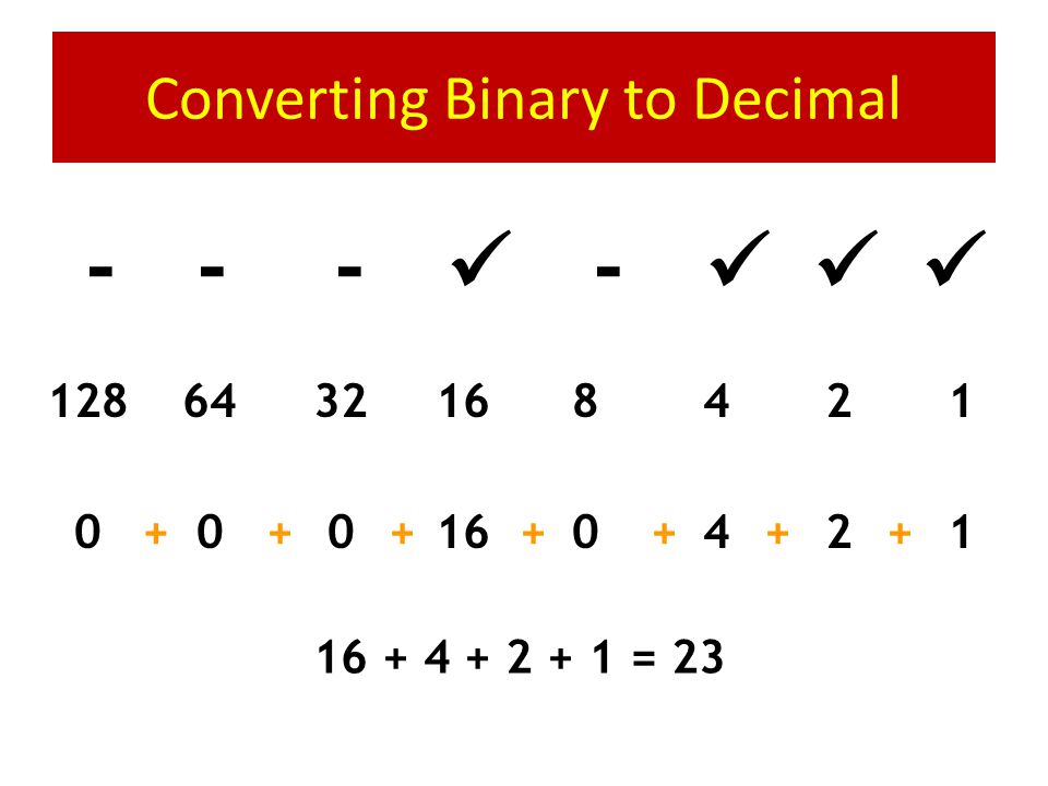 Converting Binary to Decimal 0 1 0 1 0 0 0 1 1248163264128 1000160640+++++++ 64 + 16 + 1 = 81