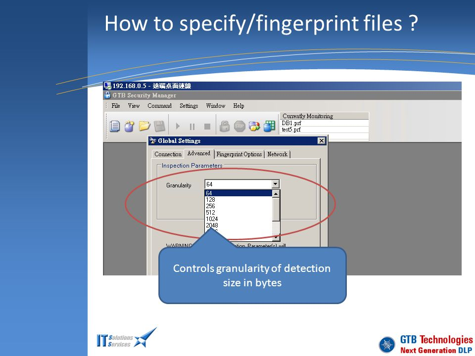How to specify/fingerprint files ? Controls granularity of detection size in bytes