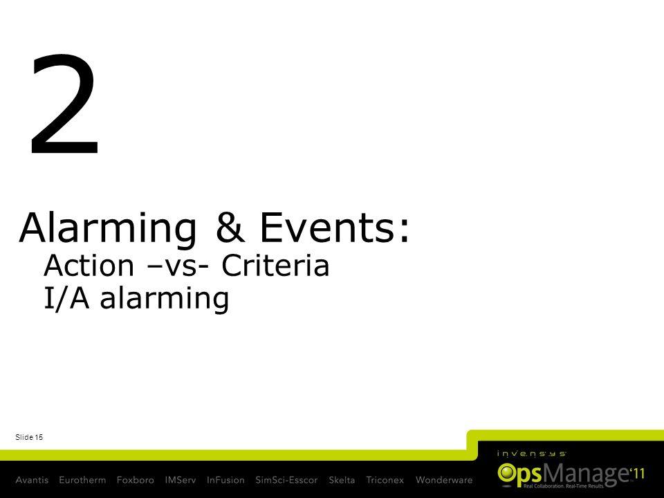 Slide 15 Alarming & Events: Action –vs- Criteria I/A alarming 2