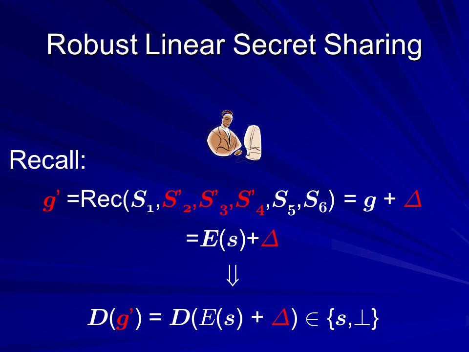 g =Rec( S 1, S 2, S 3, S 4, S 5, S 6 ) = g + ¢ = E ( s )+ ¢ D ( g) = D ( E ( s ) + ¢ ) 2 { s, .