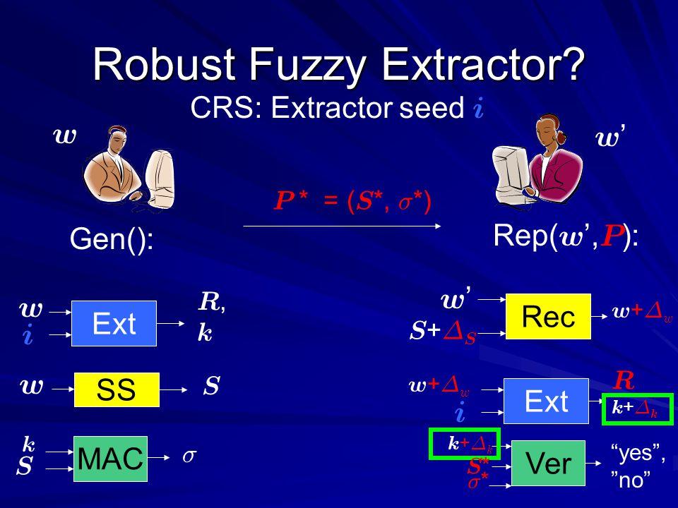 k+¢kk+¢k R k + ¢ k w+¢ww+¢w Robust Fuzzy Extractor.