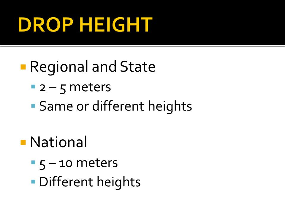 Regional and State 2 – 5 meters Same or different heights National 5 – 10 meters Different heights