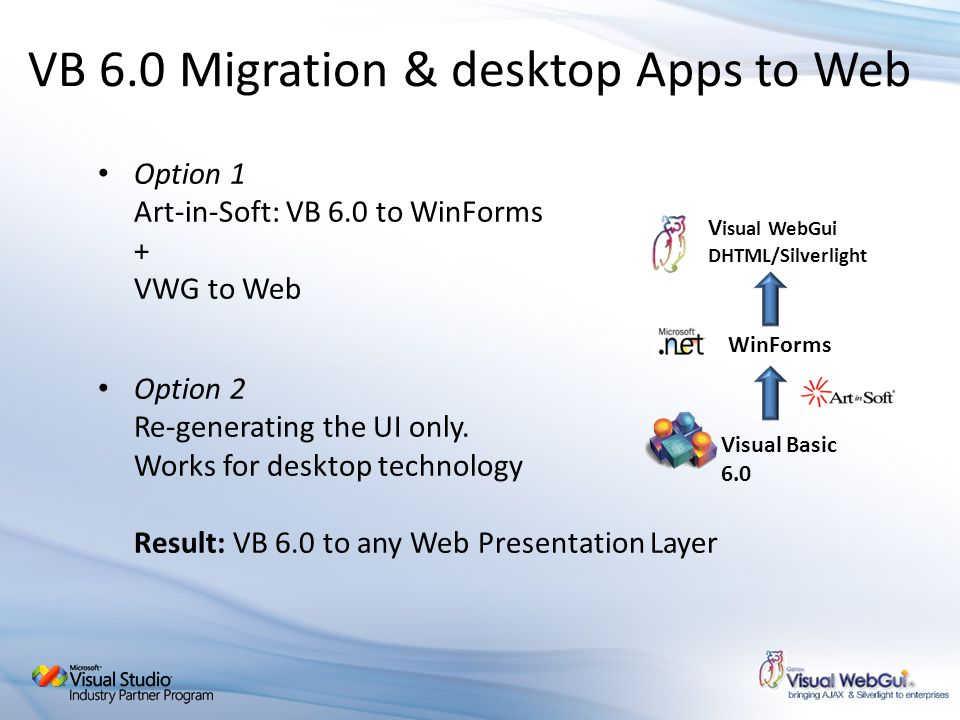 Option 1 Art-in-Soft: VB 6.0 to WinForms + VWG to Web Option 2 Re-generating the UI only. Works for desktop technology Result: VB 6.0 to any Web Prese
