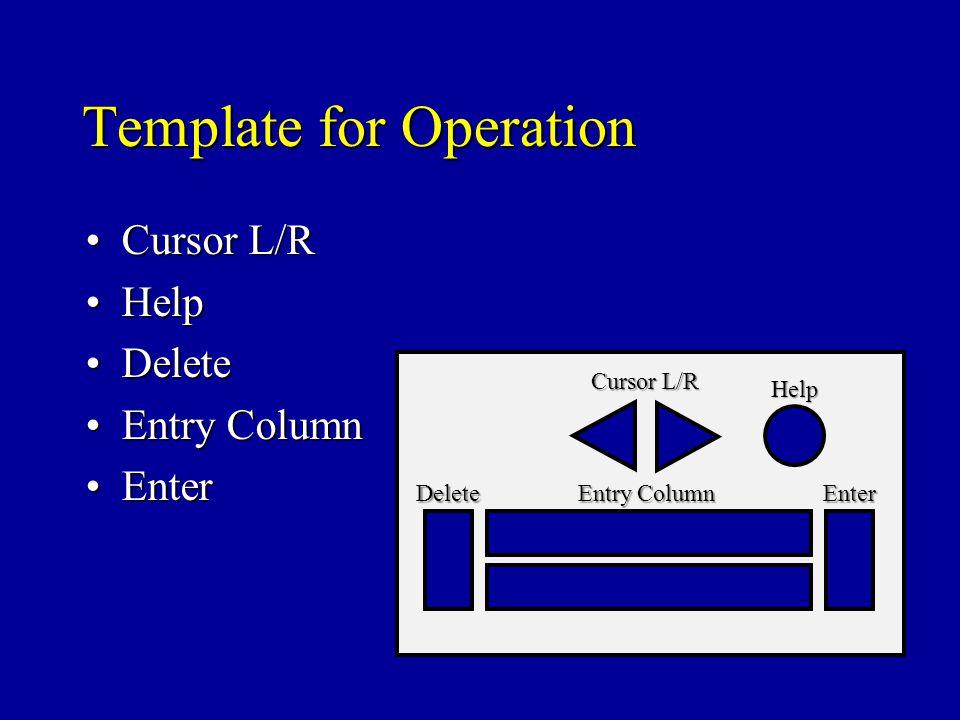 Template for Operation Cursor L/RCursor L/R HelpHelp DeleteDelete Entry ColumnEntry Column EnterEnter Help Cursor L/R Delete Entry Column Enter