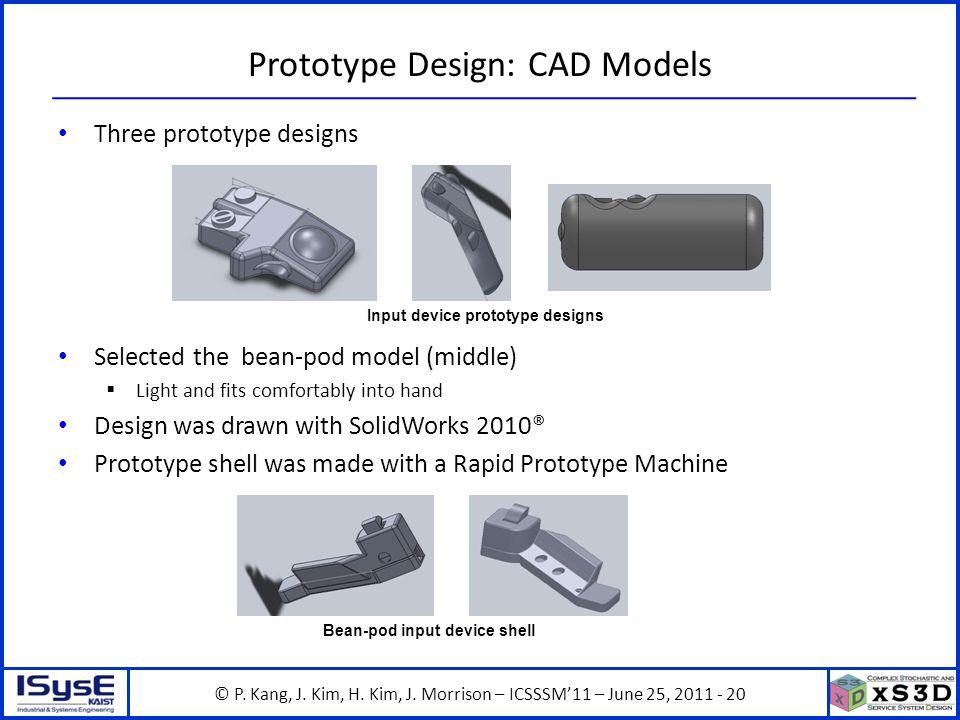 © P. Kang, J. Kim, H. Kim, J. Morrison – ICSSSM11 – June 25, 2011 - 20 Prototype Design: CAD Models Three prototype designs Selected the bean-pod mode