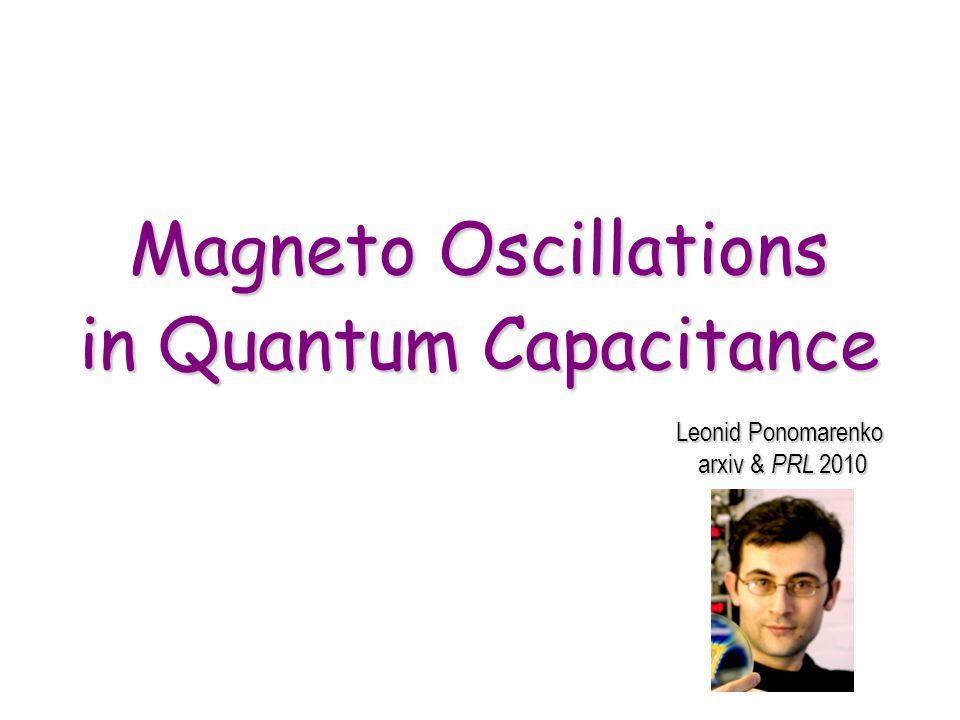 Magneto Oscillations in Quantum Capacitance Leonid Ponomarenko arxiv & PRL 2010